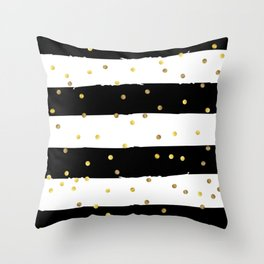 Black and white grunge striped background with Gold confetti Throw Pillow