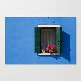 Window on blue Canvas Print