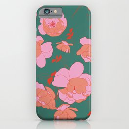 English Roses in Pink and Green iPhone Case