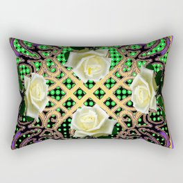 ORNATE ITALIAN STYLE WHITE ROSES Rectangular Pillow