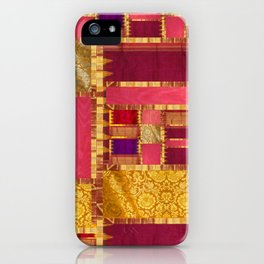 """""""Exotic fabric, ethnic and bohemian style, patches"""" iPhone Case"""