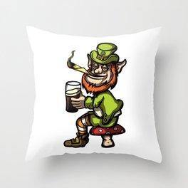 Wasted Leprechaun Throw Pillow