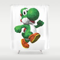 yoshi Shower Curtains featuring Yoshi Geometric by ThisTinyBean.