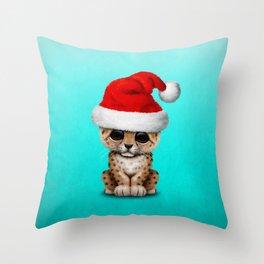 Christmas Leopard Wearing a Santa Hat Throw Pillow