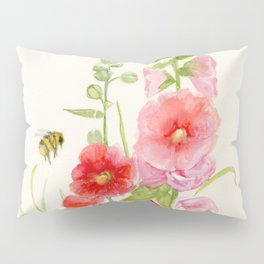 Watercolor Flower Pink Hollyhock and Bee Pillow Sham