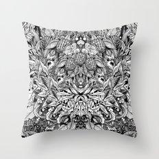 Summer Foliage, Black and White Throw Pillow