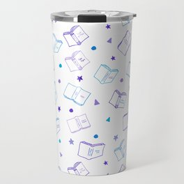 Classic Book Doodles Purple & Blue Travel Mug