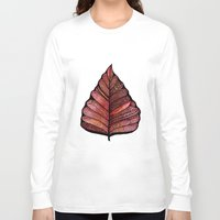 decal Long Sleeve T-shirts featuring Modern leaf art | green leaves wall decal | botanical leaf decor | botanical leaves | leaf & plant by WestridgeART