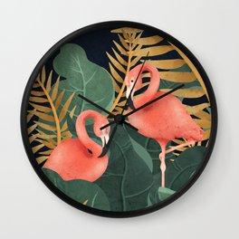 Two Flamingos Wall Clock