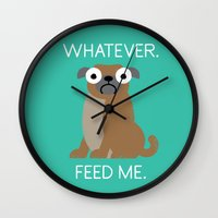 Wall Clocks featuring The Pugly Truth by David Olenick