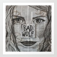 bad wolf Art Prints featuring Bad Wolf  by Chrissie Brown Art