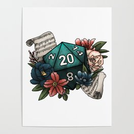 Bard Class D20 - Tabletop Gaming Dice Poster
