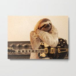 Rockstar Sloth Metal Print