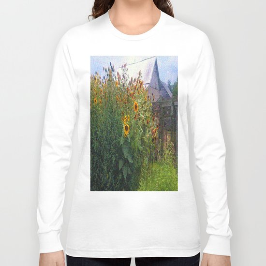 Sunflowers Overgrow the Barn Long Sleeve T-shirt