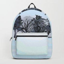 vectors trees hillside snow pines Backpack