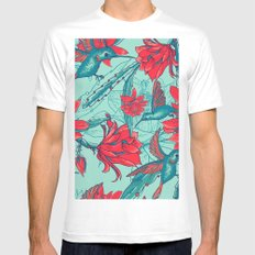 Flowers and Hummingbirds Mens Fitted Tee White MEDIUM