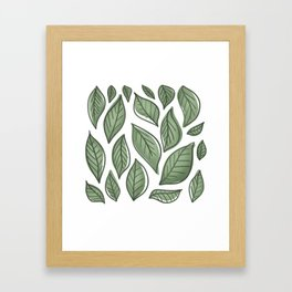 Sage Green Leaves Framed Art Print