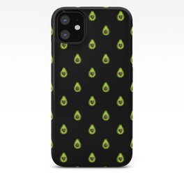 Avocado Hearts (black background) iPhone Case