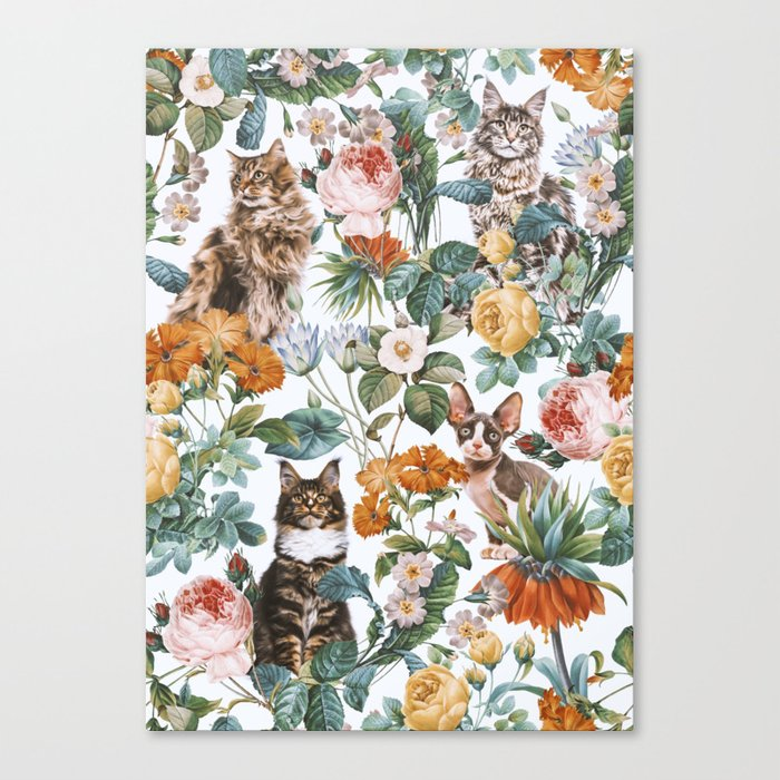 Cat and Floral Pattern III Leinwanddruck