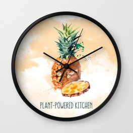 Pineapple in Water Color Plant-Powered Kitchen Wall Clock