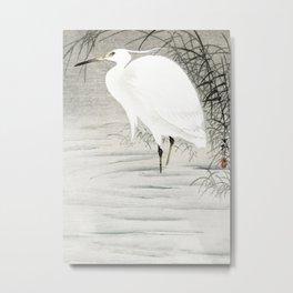 Egret standing in the water  - Vintage Japanese Woodblock Print Art Metal Print