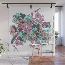 Hand drawn flowers. Vintage romantic design Wall Mural