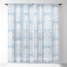 Mid Century Modern Pineapple Pattern Light Blue Sheer Curtain