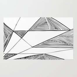 Triangles perspective geometric ink-pen drawing Rug
