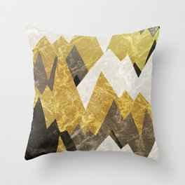 The rocky golden peaks Throw Pillow
