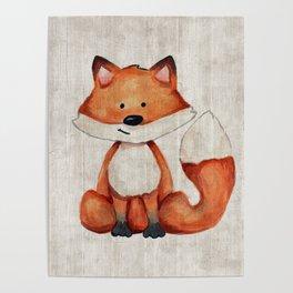 Little Fox, Baby Fox, Baby Animals, Forest Critters, Woodland Animals, Nursery Art Poster