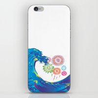 hokusai iPhone & iPod Skins featuring Hokusai Rainbow & Fireworks  by FACTORIE