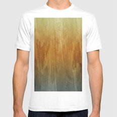Earthy Water Color Abstract White Mens Fitted Tee MEDIUM