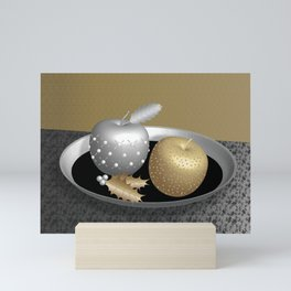 Gold and Silver Christmas Apples on a Silver Platter Mini Art Print