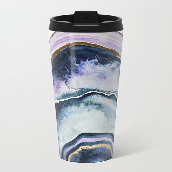 Purple Agate Watercolor Metal Travel Mug