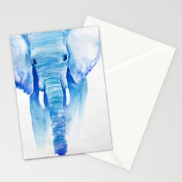 Majestic Blue Watercolor Elephant Stationery Cards