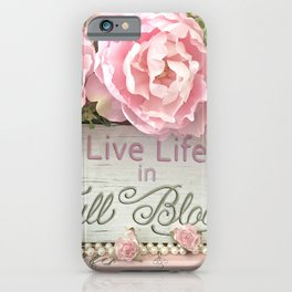 Shabby Chic Cottage Pink Peonies Inspirational Art Print Home Decor iPhone Case