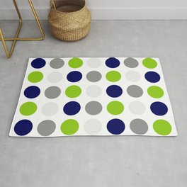 Lime Green, Bright Navy Blue, and Gray Multi Dots Minimalist Pattern on White Rug