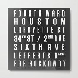 HOUSTON City Subway Sign Metal Print