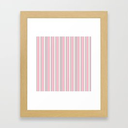 Classic Pink and Gray Stripes Framed Art Print