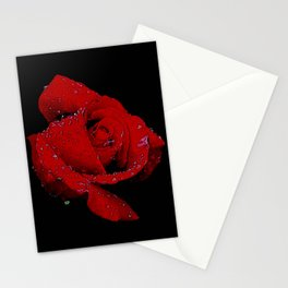 Red Rose Kissed By Rain Stationery Cards