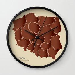 Poland map artwork color illustration brown Wall Clock