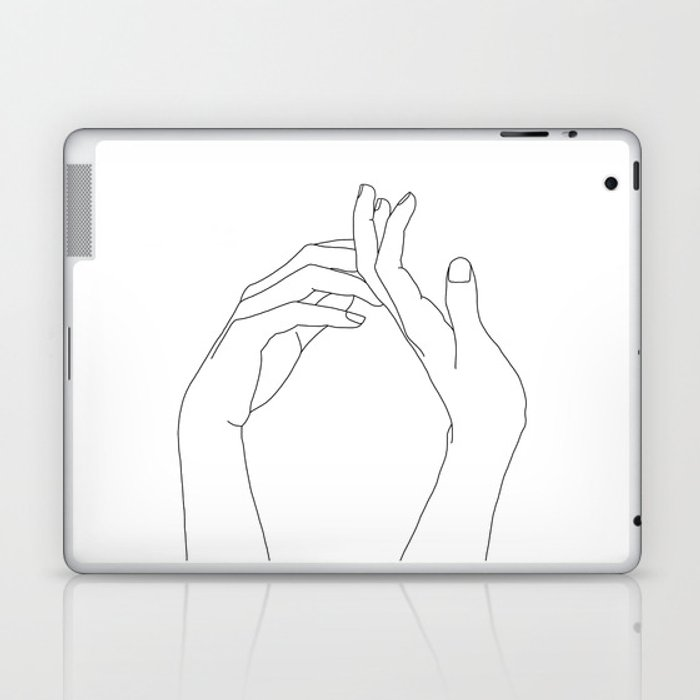 Hands line drawing illustration - Abi Laptop & iPad Skin