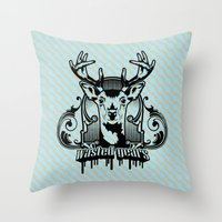 wasted rita Throw Pillows featuring wasted years by aceofspades81