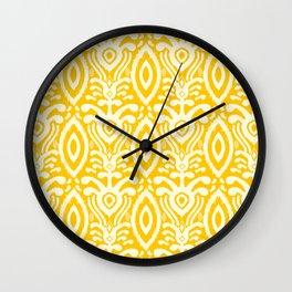 Yellow Ikat Pattern Wall Clock