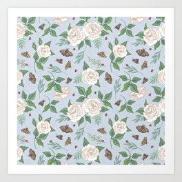 Roses, Moths and Ladybirds Art Print