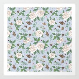 Roses, Moths and Ladybirds Art Print