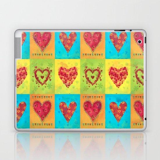 Colorful hearts pattern Laptop & iPad Skin