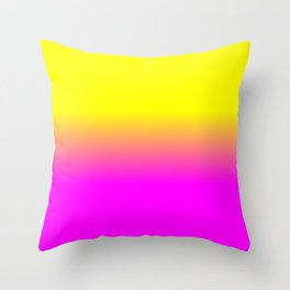 Neon Yellow and Bright Hot Pink Ombré  Shade Color Fade Throw Pillow