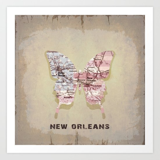 New Orleans butterfly Art Print