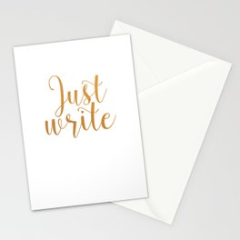 Just write. - Gold Stationery Cards